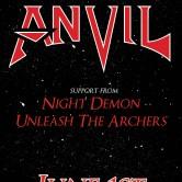 ANVIL, NIGHT DEMON, UNLEASH THE ARCHERS, HAZARD